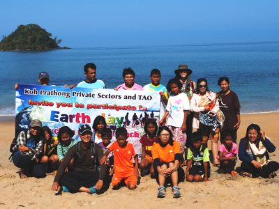 Beach clean up on Koh Phra Thong Thailand