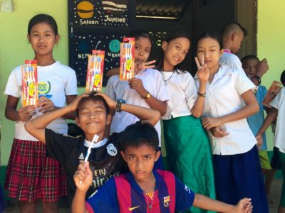 Students learning about dental hygiene at the Burmese Learning Center in Kuraburi